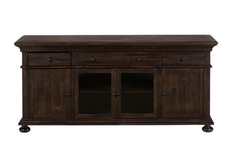 """Jofran Geneva Hills Collection 679-XX XX"""" Media Unit with Bun Feet, Three Drawers, Two Wood Doors and Two Glass Doors in Townsend Rustic Brown"""