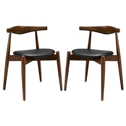 Modway EEI-1377 Stalwart Dining Side Chairs Set of 2 with Modern Design, Solid Beechwood Frame, Foam Cushion and Vinyl Upholstery