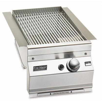 """FireMagic 3287-1X 14"""" Built-in Electronic Ignition System X Burner, Contoured Control Panel, 24000 BTU: Stainless Steel"""