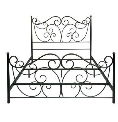 Bello B538 Bed with Metal Construction, Fantasy Scroll Design, Powder-Coated Steel Frame and Scratch Resistant in Dark Bronze Finish