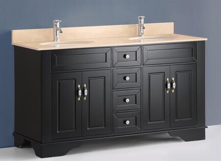 "Bosconi A5092 59"" Double Vanity with X Marble Top, Matching Backsplash, 2 Full Cabinets, 4 Soft Closing Drawers, Dual Sinks, Bronzed Brass Hardware, and Faucets Not Included in"