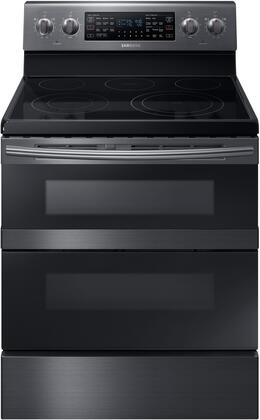 "Samsung Appliance NE59M6850Sx 30"" Freestanding Electric Range with 5.9 cu. ft. Total Capacity, FlexDuo, Dual Oven Doors, 5 Elements, and Storage Drawer, in"