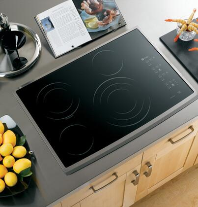 GE Profile PP945SMSS Profile Series Electric Cooktop, in Black with Stainless Steel Trim