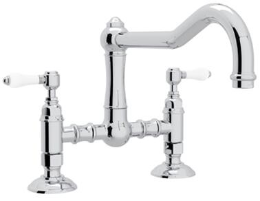 """Rohl A1459LP-2 Italian Country Kitchen Collection Deck Mounted Kitchen Bridge Faucet with 9"""" High Column Spout, 1.5 GPM Water Flow and Porcelain Levers in"""