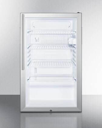 "Summit SCR450LBI7HXX 20"" Commercially Approved & ADA Compliant Compact Refrigerator with 4.1 cu. ft. Capacity, Glass Door, Auto Defrost and Reversible Door, in Grey"