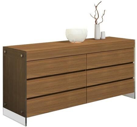 "Casabianca Il Vetro Collection 63"" Dresser with 6 Drawers, 2 Glass Panels and Medium-Density Fiberboard (MDF) in"