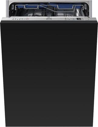 """Smeg STU8647 24"""" Built-In Dishwasher with 13 Place Settings, Orbital Wash System, Flexiduo 3rd Rack, 10 Wash Cycles, Total Aquastop, 47 dBA Noise Level, Tall Tub, in"""