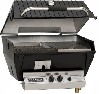 Broilmaster Q3 QRave Built-In Grill Head/Cooker with Collection Bucket, Dual Burner Controls, Electronic Ignition, Thick Cast Aluminum Head, and Stainless Steel Oval Burner