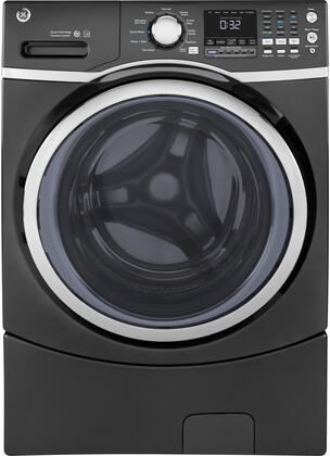 "GE GFW450S 27"" Energy Star Qualified Front Load Washer with 4.5 cu. ft. Capacity, 10 Wash Cycles, 1300 RPM Spin Speed, Steam, Stain Removal Guide, and Time Saver:"