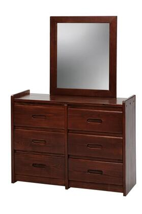 Chelsea Home Furniture 360066-01 6 Drawer Chest with Mirror, Pine Construction, Rustic Style, and Stain Finished