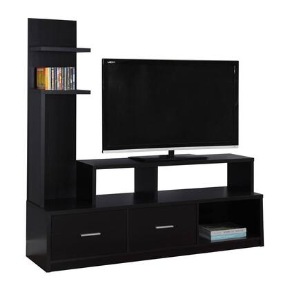 """Monarch I269Y 60"""" TV Stand with Ample Shelf Space, Modern Design and 2 Drawers"""