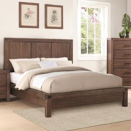 Coaster Lancashire Platform Bed with No Box Spring Required, Acacia Wood Solids and Veneers in Wire Brushed Cinnamon Finish