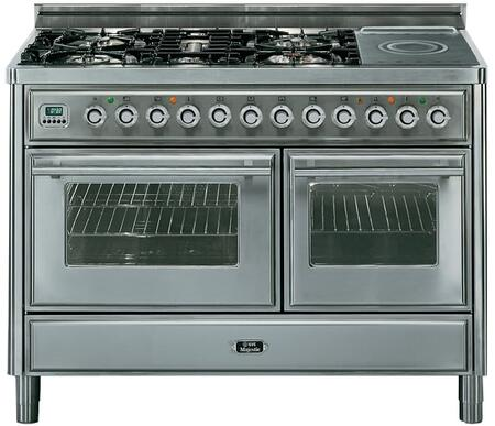 """Ilve UMT120SDMP 48"""" Freestanding Dual Fuel Range with 5 Sealed Burners, 2 Convection Ovens, French Cooktop, 4.99 cu. ft. Total Capacity, Digital Clock and Timer, Flame Failure Safety Device, and Warming Drawer"""