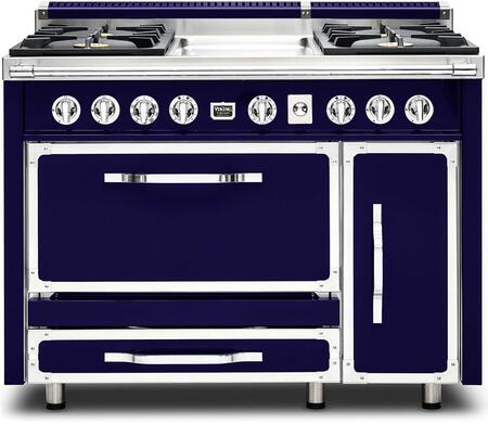 """Viking TVDR480-4G 48"""" Tuscany Series Professional Dual Fuel Range with 4 Sealed Burners and a Griddle, Dual Ovens, Storage Drawer and Porcelain Coated Cast Iron Grates:"""