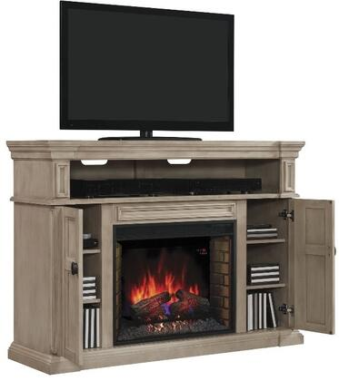 Classic Flame 28MM4684 Wyatt Infrared Electric Fireplace Media Console with Tiered Molding Mantel Top, Adjustable Wood Shelves and Side Storage Cabinets in