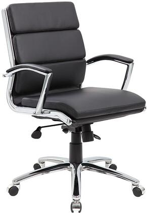 "Boss B9476 37"" Mid Back Executive Chair with Metal Chrome Plated Arms, Soft Arm Pads, Spring Tilt Mechanism, Upright Locking Position, and Seat Height Adjustment"