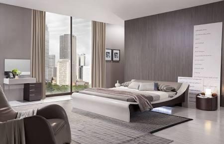 VIG Furniture VGWCGENEVA Geneva  Contemporary Grey Platform Bed with Lights
