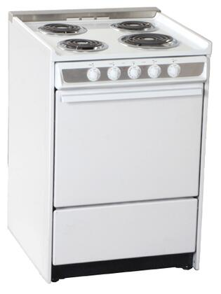 "Summit WEM619R 24"" Professional Series Slide-in Electric Range with Coil Element Cooktop, 2.92 cu. ft. Primary Oven Capacity, Storage in White"