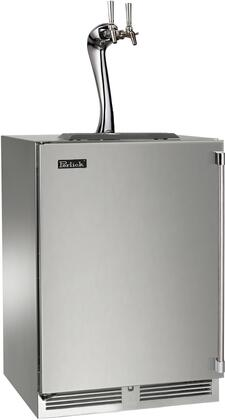 """Perlick HP24TS31x2A 24"""" Indoor Beer Dispenser with Dual Faucet Tower, Rapidcool Forced Air Refrigeration System, Stainless Steel Interior, 995 BTU Variable-Speed Compressor and Adara Faucet, in Stainless Steel with"""