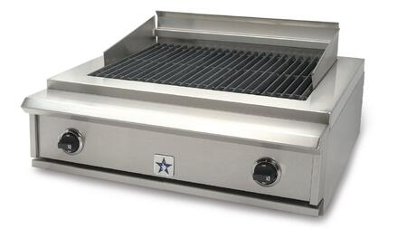 "BlueStar PRZIDCB30 30"" Indoor Charbroiler with Two 15,000 BTU Burners, Adjustable Cast-Iron Grates and Commercial Stainless Steel Construction, and Adjustable Grate Positioning in Stainless Steel"