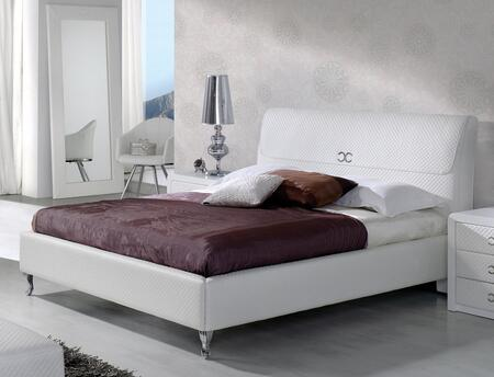 ESF Emily Collection Platform Bed with Polished Metal Cabriole Legs and European Style in Matt Finish