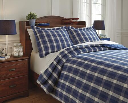 Signature Design by Ashley Baret Q7430 2 PC Full Size Duvet Cover Set includes 1 Duvet Cover and 2 Standard Shams with Plaid Design and Cotton Material in Color