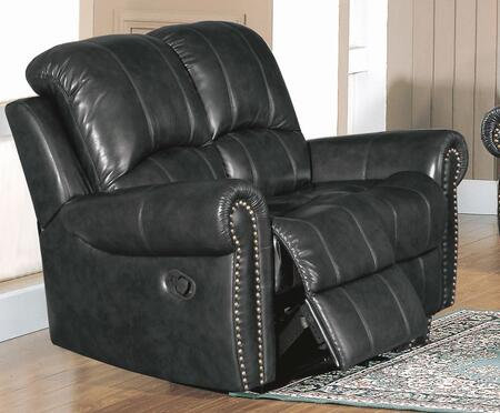 Yuan Tai GR8811LBK Gretna Series Leather Loveseat with Wood Frame Loveseat