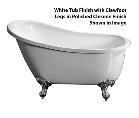 """Barclay ATSN51IWH Demille 51"""" Acrylic Roll Top Slipper Tub, with White Tub Finish, No Overflow, Imperial Clawfoot Design, No Faucet Holes, with Clawfoot Finish in"""