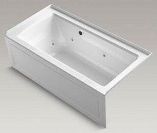 """Kohler K-1947-RAW Archer 60"""" x 30"""" Alcove Whirlpool Bath Tub with Bask Heated Surface, Integral Apron, Integral Flange and Right-Hand Drain in"""