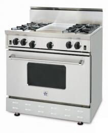 BlueStar RNB364GSSLP  Gas Freestanding Range with Open Burner Cooktop, 5.0 cu. ft. Primary Oven Capacity, in Stainless Steel