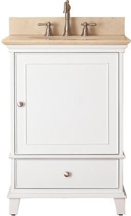 "Avanity Windsor Collection WINDSOR-VS24-WT-X 24"" Sink Vanity with X Top, Undermount Sink, Soft-Close Door and Soft-Close Drawer in White"