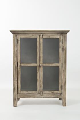 """Jofran Rustic Shores Collection 1620-XX X"""" Accent Cabinet with Interior Shelf and Glass Panel Doors in Watch Hill Weathered Grey"""