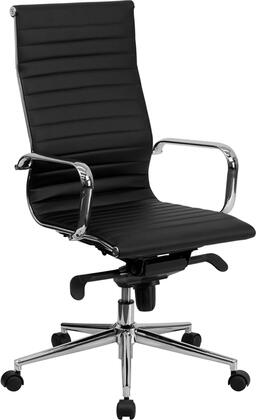 "Flash Furniture BT-9826H-XX-GG 18.5"" High Back Ribbed Upholstered Leather Executive Office Chair with Built-In Lumbar Support, Foam Molded Seat and Back, Polished Aluminum Base, and Dual Wheel Casters"