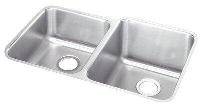 "Elkay ELUHE3120 Gourmet Lustertone Stainless Steel 31-1/4"" x 20-1/2"" Double Basin Undermount Kitchen Sink"
