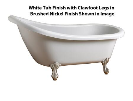 """Barclay ATSN59WH Dulcina 59"""" Acrylic Roll Top Slipper Tub, with White Tub Finish, Overflow, Ball and Claw Foot Design, No Faucet Holes, with Clawfoot Finish in"""