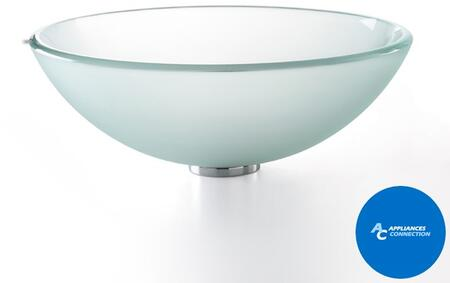 """Kraus CGV101FR1412MM10 Singletone Series 14"""" Round Vessel Sink with 12-mm Tempered Glass Construction, Easy-to-Clean Polished Surface, and Included Waterfall Faucet, Frosted Glass"""