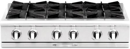 "Capital CGRT366L 36"" Culinarian Series Gas Open Burner Style Cooktop, in Stainless Steel"