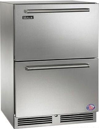 """Perlick HP24Zx35C 24"""" Signature Series Dual Zone Drawer Freezer/Refrigerator with 5 cu. ft. Capacity, 1000 BTU Speed Compressor, RapidCool Refrigeration System, Stainless Steel Interior and Automatic Defrost, in Stainless Steel"""