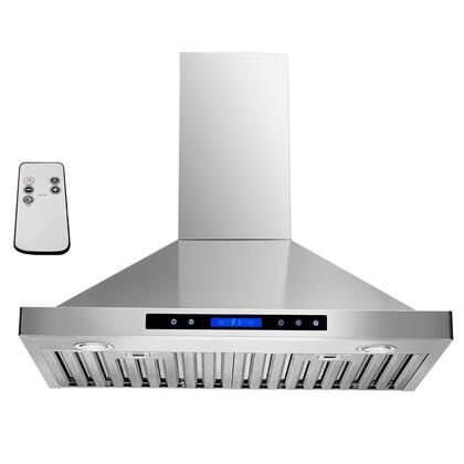 "Golden Vantage GWRB230 30"" Wall Mounted Range Hood with 760 CFM, 65 dB, Innovative Touch, Halogen Lighting, 3 Fan Speed, Stainless Steel Baffle Filter, Remote Control and X: Stainless Steel"