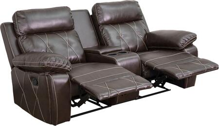 Flash Furniture BT705302GG Real Comfort Series 2-Seat Reclining Leather Theater Seating Unit with Straight Cup Holders