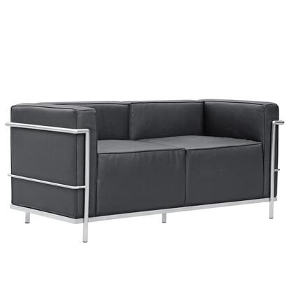 Fine Mod Imports FMI2203BLACK Grand Series  Stationary with Stainless Steel Frame Loveseat