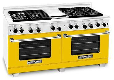 """American Range ARR6062GRYW 60"""" Heritage Classic Series Gas Freestanding Range with Sealed Burner Cooktop, 4.8 cu. ft. Primary Oven Capacity, in Yellow"""