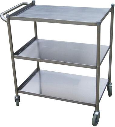 Turbo Air TBUS Stainless Steel Bus Cart with Three Spacious Shelves and 4 Rubber Casters