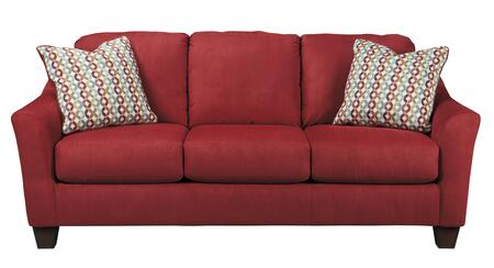 "Signature Design by Ashley Hannin 9580X38 82"" Stationary Fabric Sofa with Flared Wedge Arms, Tapered Legs and 2 Colorful Toss Pillows in"