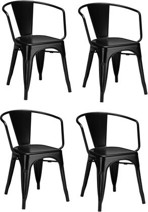 EdgeMod EM113BLKX4 Trattoria Series Modern Metal Frame Dining Room Chair