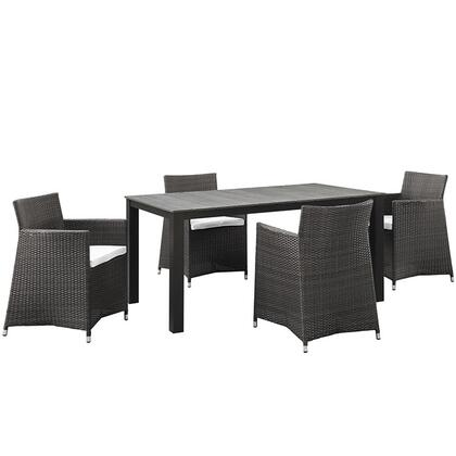 Modway EEI1746BRNWHISET Modern Rectangular Shape Patio Sets