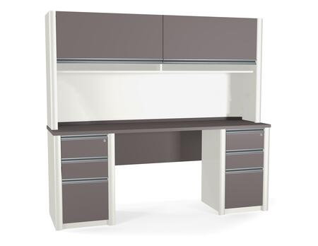 Bestar Furniture 93876 Connexion Credenza and hutch including assembled pedestals