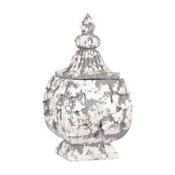 Sterling Restoration Collection Embellished Box with Shape, Distressed Look and Composite Material in Aged Plaster Finish