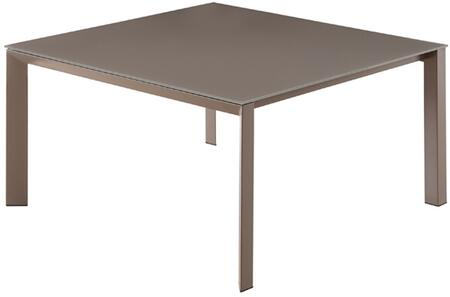 "Casabianca Naples Collection 55"" Dining Table with Glass Top, Square Shape and Painted Metal Construction in"