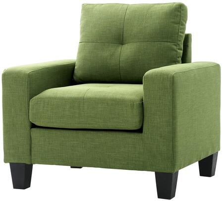 Glory Furniture G476AC Newbury Series Faux Leather Armchair in Green